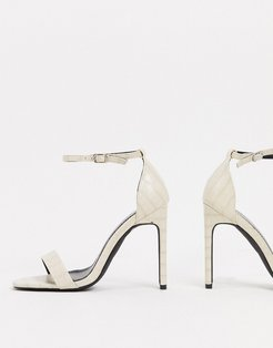 barely there sandals with set back heel in off white croc-Cream