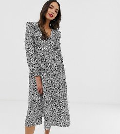 long sleeve midi dress with ruffle detail in ditsy floral-Black