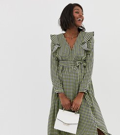 midi dress with ruffle shoulders in gingham-Navy