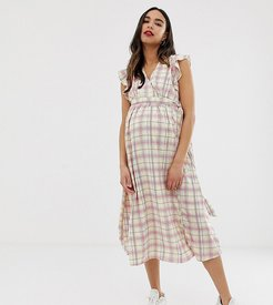 midi dress with ruffle shoulders in grid check-White