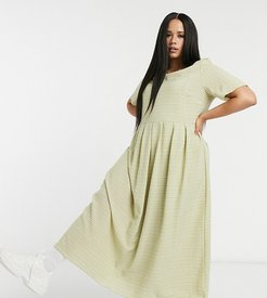 maxi smock dress in grid check-Green
