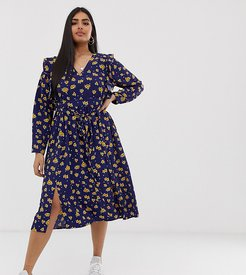 midi dress with ruffle shoulders in sunflower print-Navy