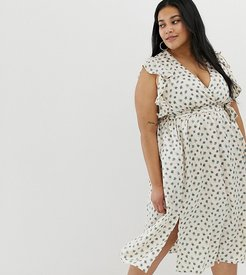 plunge front midi dress with ruffle shoulders in smudge spot-Multi