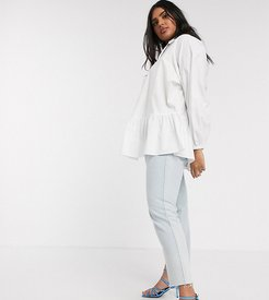 smock shirt with frill collar and peplum hem in cotton-White