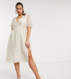 wrap front midi dress with volume sleeves in organza check-White