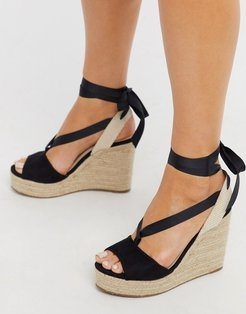 espadrille wedge sandal with ankle tie in black