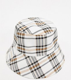Exclusive bucket hat with wide brim in check-Multi