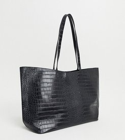 Exclusive oversized tote bag in black croc with removable inner pouch
