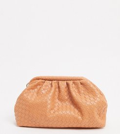 Exclusive slouchy pillow clutch bag in orange woven-Multi