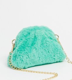 Exclusive slouchy pillow mini clutch bag in faux fur-Multi