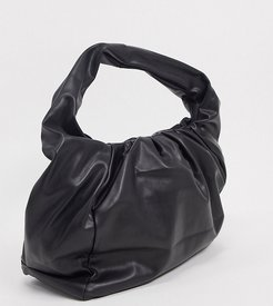 Exclusive slouchy ruched tote bag in black