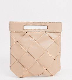 Exclusive woven grab clutch bag with handle in taupe-Beige
