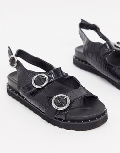 flat sporty sandal in black mock croc