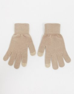 gloves with touch screen in camel-Beige