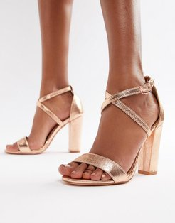 metallic cross strap block heel sandals in rose gold