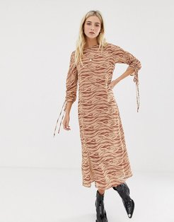 midi dress with front splits and ruched sleeves and in subtle zebra-Beige