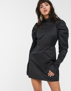 mini shift dress with structured puff sleeves-Black