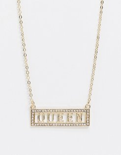 necklace with crystal slogan in gold