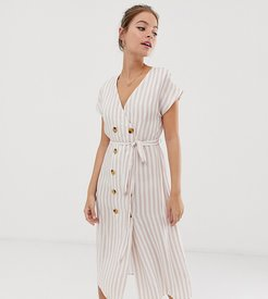 belted midi dress with button front in natural stripe-White