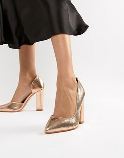 rose gold block heeled shoes