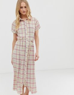 shirt dress with belt in grid check-White