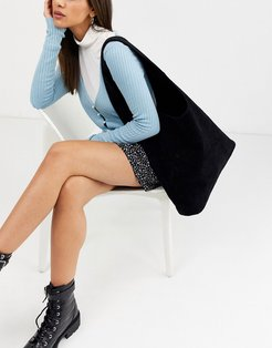 slouchy tote bag in black suede look