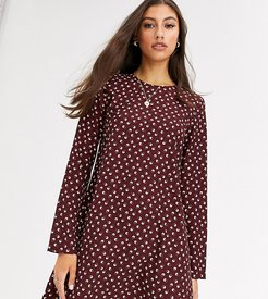 long sleeve shift dress in ditsy vintage floral-Red