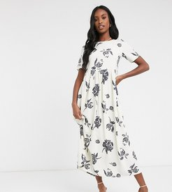 maxi smock dress in bold floral print-White