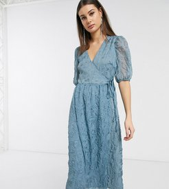 midaxi wrap dress with volume sleeves in texture-Blues