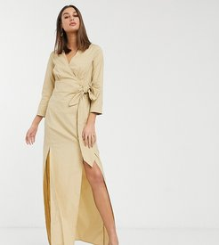 midi wrap dress in textured fabric-Brown
