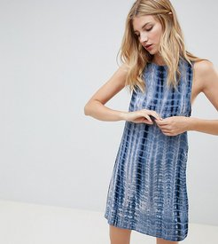 printed shift dress with tie back-Multi