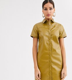shirt dress in soft faux leather-Green