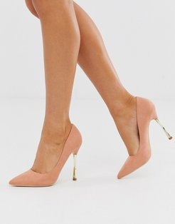 taupe pumps with gold statement heel-Beige