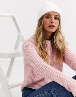 wide ribbed beanie hat in winter white