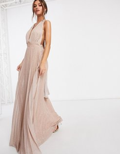 backless plunge pleated maxi dress with drape back tie in glitter rose gold