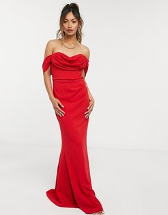 Bardot ruched maxi dress in red