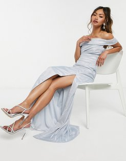 off-the-shoulder maxi dress in silver