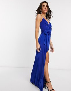 v neck maxi dress with tie waist in blue