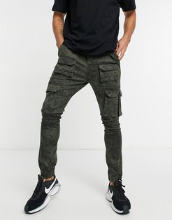 cargo pants with pockets in washed green