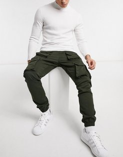 cargo pants with utility pockets in khaki-Green