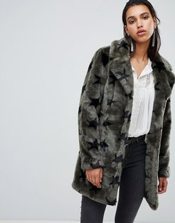 faux fur jacket with stars-Green
