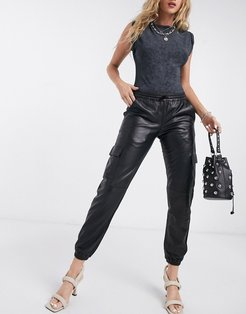leather utility pants in black