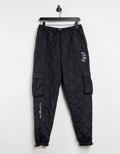 nylon quilted cargo pants in black