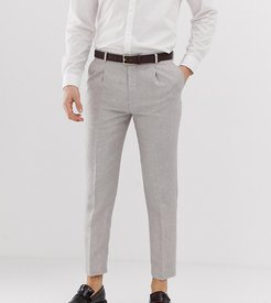 skinny fit cropped pleated pants in linen-Gray