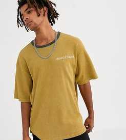 waffle t-shirt in camel with logo-Tan