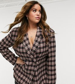 double breasted blazer in brown and red check
