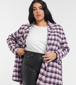 oversized dad blazer in pink and black plaid
