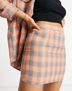 tailored mini skirt in orange check - part of a set-Multi
