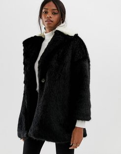 coat with contrast faux fur collar-Black