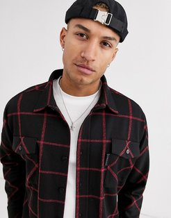 shirt with window pane check in black